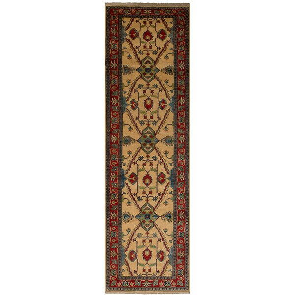 One-of-a-Kind Noriko Hand-Knotted 100% Wool Cream Indoor Area Rug by Isabelline